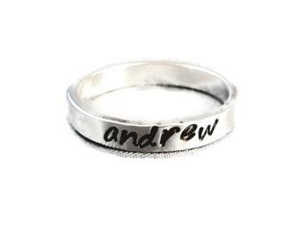 Stackable Name Rings,  custom ring, Sterling Silver Name Ring, custom stacking ring