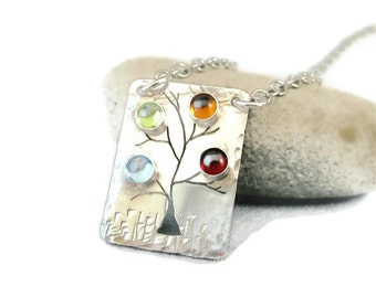Mothers Necklace - Family Tree Birthstone Necklace in Sterling Silver - 4 stones