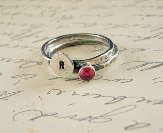 Birthstone and Mini Mongram Ring in Sterling Silver