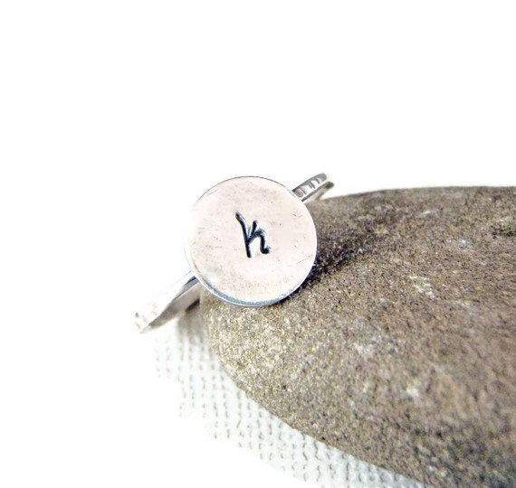 Initial jewelry - initial ring - Personalized Initial Ring in Sterling Silver - Monogram Ring
