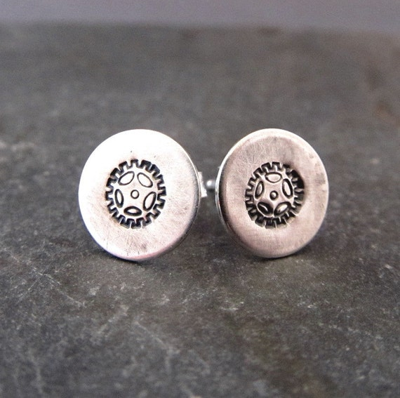 Bike Earrings  -Sterling Silver - Gear jewelry
