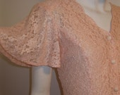 vintage womens lace dress PEACH with flutter sleeve