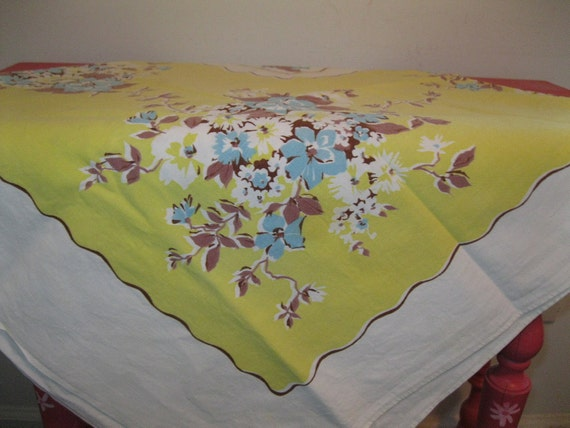vintage 1950s 60s tablecloth floral sunny YELLOW blue KITCHEN