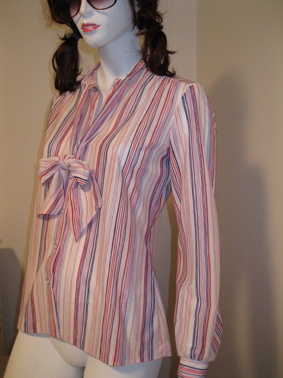 vintage womens blouse BOW neck sexy fitted secretary