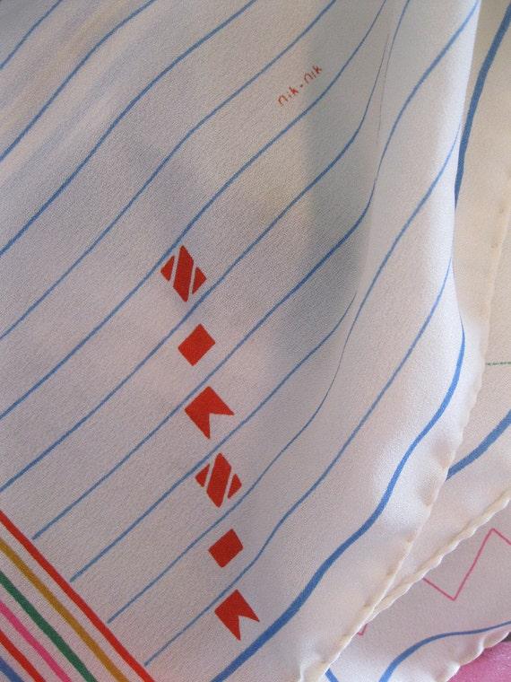 vintage long scarf GEOMETRIC print primary colors 1980s kitsch by NIK NIK