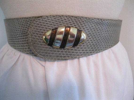vintage snakeskin belt 1980s GRAY gold genuine leather