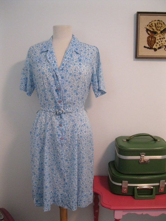 vintage 1950s day dress FLORAL gauze fabric womens matching BELT