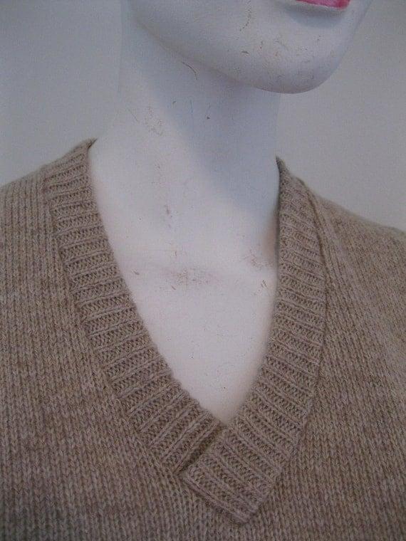vintage brown vest mens 1970s womens PREPSTER geek  sweater