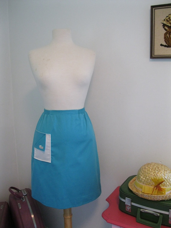 vintage LACOSTE skirt GREEN AQUA with white gator 1980s 80s