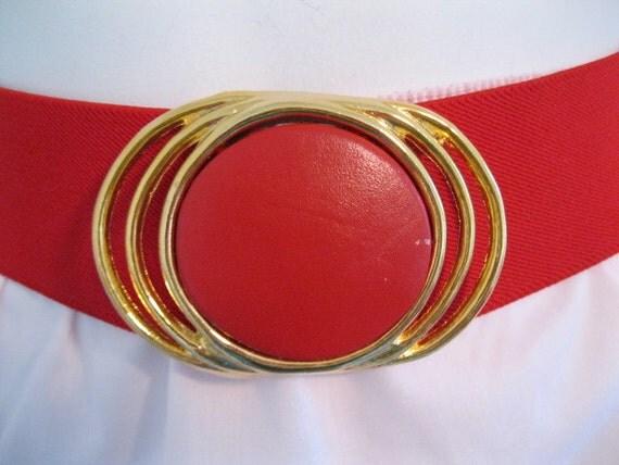 Vintage candy RED big leather disc buckle 80s cinch belt