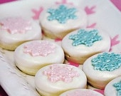 1 Doz SNOWFLAKES Chocolate Covered Oreos -Light Pearl or Iridescent Snow Glitter Finish