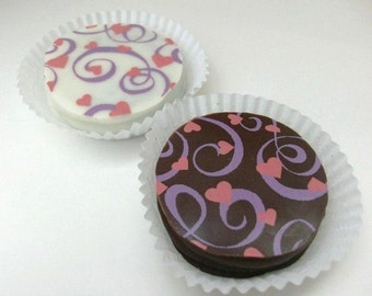 1 Dozen HEARTS AND SWIRLS Design Chocolate Covered Oreos Valentine Wedding Party Shower Birthday Anniversary