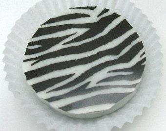 Designer Chocolate Covered Oreos -Black Zebra Print Birthday Party Favor or Gift