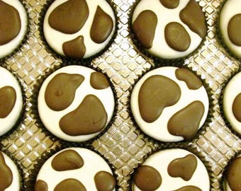 1 Dozen COW SPOTS Chocolate Covered Oreos -Birthday Baby Shower Party Favor Milk Cookies