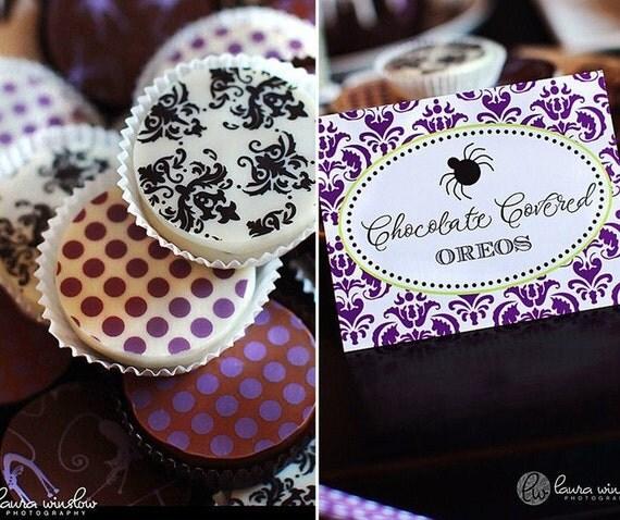 1 Dozen BLACK DAMASK Designer Chocolate Covered Oreos -Halloween Party Wedding Shower Birthday Gift Favor