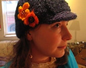 blue flowers newsboy cap