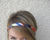 The Skinny Headband- Vintage Geometric Print Fabric Headband