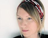 The Turban Headband- In Knit Red Geometric Dot Print, bohemian style