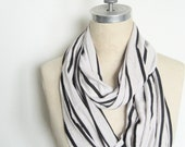 Jersey Infinity Circle Scarf Light Weight Oatmeal and Black stripe