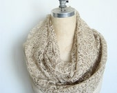 Lace Infinity Circle Scarf in Tan and Gold