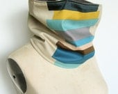The Cowl Scarf, Neck warmer in Khaki, Yellow and Turquoise geometric print
