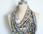 The Infinity Scarf in Brown, Blue and Green Zig Zag Print On Sale