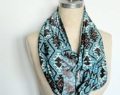 The Infinity Scarf in Turquoise and Brown Aztec Print