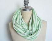 The Infinity Scarf in White and Kelly Green Stripe