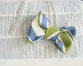The Professor Necklace, Vintage Silk Bow Tie Necklace in Blue and Lime Green Stripe