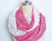 Lace Infinity Circle Scarf, Double Layer in White and Neon Pink
