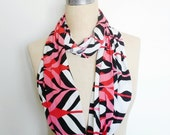 The Infinity Scarf in Coral, Red, White and Black Geometric Print