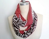 Last One Sale, The Infinity Scarf, double loop in Rust and Brown Zebra Print