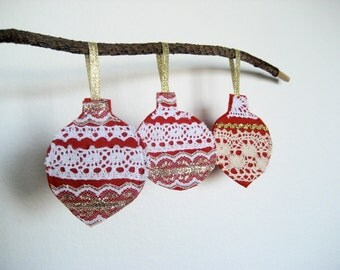 Christmas Ornaments in Felt and Lace, Three Piece Set