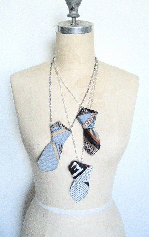 The Ex Boyfriend Necklace, Neck tie statement necklace in nautical white and navy