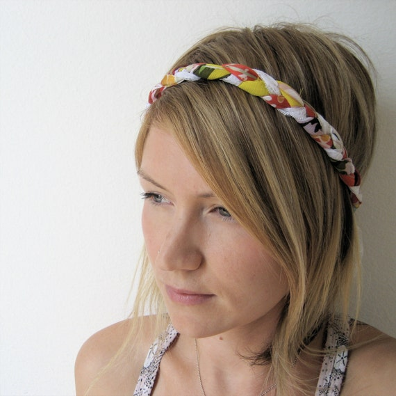 The Braided Headband- In Coral and Yellow, bohemian style