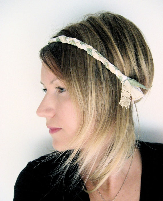 The Braided Headband- In Mint and Gold, bohemian style