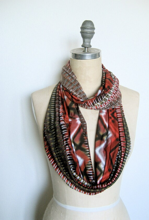 The Infinity Scarf in Red Aztec Print