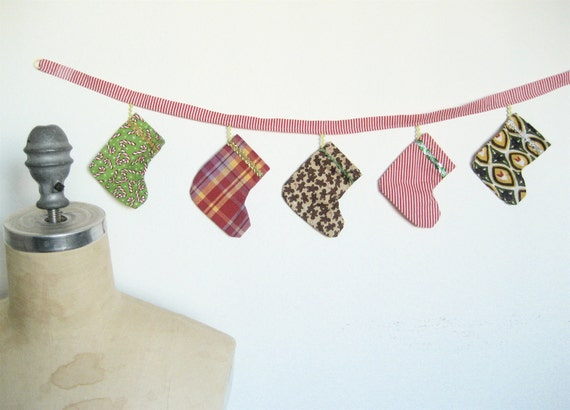 Christmas Stocking Bunting with Five Mini Stockings