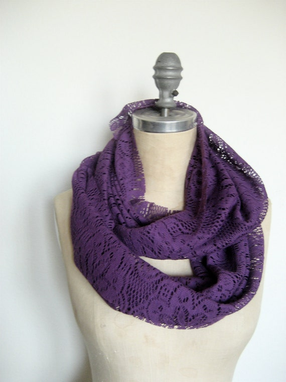Lace Infinity Scarf in Violet Purple