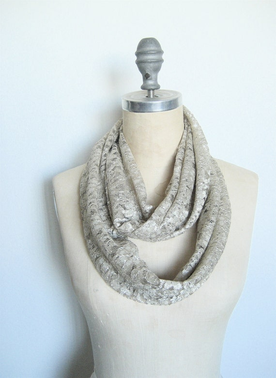 Lace Infinity Scarf in Soft Khaki