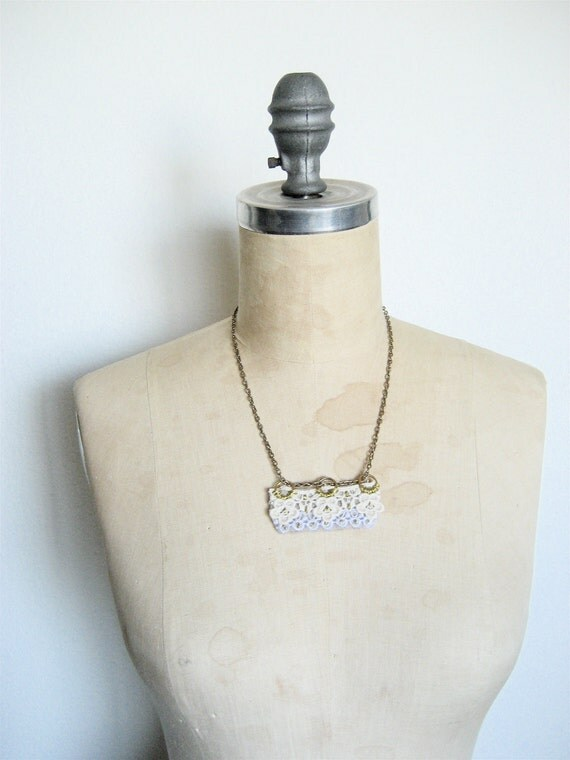 The Natural Necklace, Vintage cotton lace and felt statement necklace