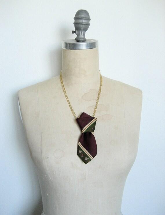 The Ex Boyfriend Necklace, Vintage Silk Necktie Necklace in Plum and Green diagonal stripe