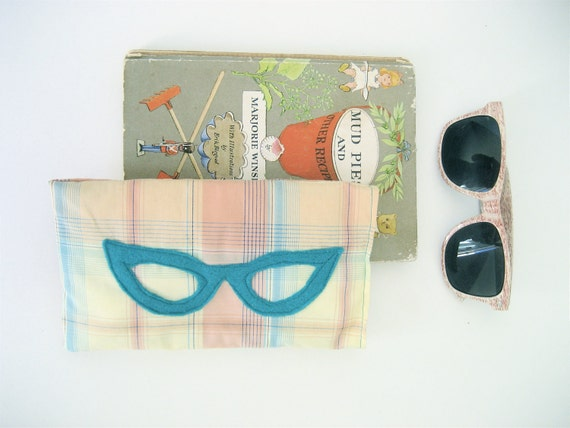 Shady Lady Sunglass Case in Yellow Plaid, Soft Sunglasses or Reading Classes Case