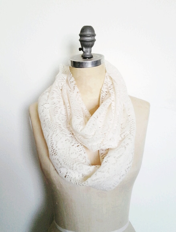 RESERVED Ivory Lace Infinity Circle Scarf