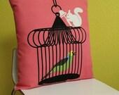 Cheese Slicing Squirrel Birdcage Pillow