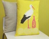 Super Modern Yellow Stork Pillow
