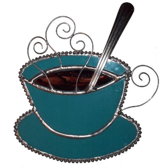 Coffee Mug Stained Glass Suncatcher