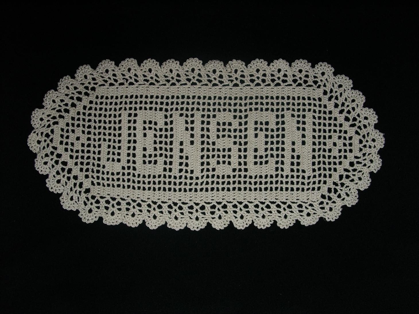 ... filet crochet name doily crochet name doily any name heirloom crochet