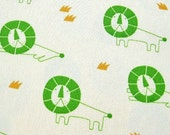 Lion King in Green - Japanese Cotton Fabric - Half Yard