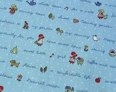 Sweet Country Girl in Blue - Japanese Cotton Fabric - Half Yard